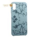 Чехол-накладка силиконовый Silicone Cover для iPhone XS Узор Бирюзовый