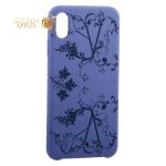Чехол-накладка силиконовый Silicone Cover для iPhone XS Max (6.5) Узор Сиреневый