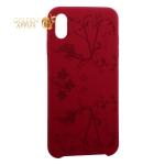 Чехол-накладка силиконовый Silicone Cover для iPhone XS Max (6.5) Узор Бордово-фиолетовый