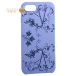 Чехол-накладка силиконовый Silicone Cover для iPhone SE (2020г.) Узор Сиреневый