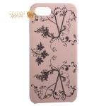 Чехол-накладка силиконовый Silicone Cover для iPhone 8 Узор Светло-коралловый