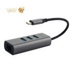 Переходник Baseus Enjoy series Type-C to HUB 4в1 (CAHUB-M0G) Type-C to USB3.0x3/ LAN Графитовый
