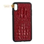 Накладка кожаная Vorson под крокодила для iPhone XS Max  силиконовый борт Красная