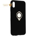 Чехол-накладка для iPhone XS Max (6.5) силиконовый с кольцом и металлической пластиной для магнитных держателей Черный