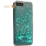 Чехол-накладка для iPhone 8 Plus/8 Plus (5.5) силиконовый с бирюзовыми плавающими блестками Прозрачный
