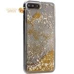 Чехол-накладка для iPhone 8 Plus/7 Plus (5.5) силиконовый с золотыми плавающими блестками Прозрачный