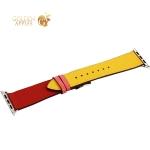 Ремешок кожаный COTEetCI W36 Fashoin Leather (WH5260-44-ACR) для Apple Watch 44 мм/ 42 мм (short) Желтый-Красный