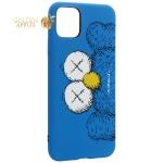 Чехол-накладка силикон Luxo для iPhone 11 Pro Max (6.5) 0.8 мм с флуоресцентным рисунком KAWS Синий