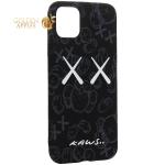Чехол-накладка силикон Luxo для iPhone 11 Pro Max (6.5) 0.8 мм с флуоресцентным рисунком KAWS Черный