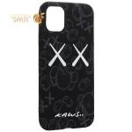 Чехол-накладка силикон Luxo для iPhone 11 (6.1) 0.8мм с флуоресцентным рисунком KAWS Черный