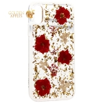 Чехол-накладка силиконовая K-Doo Flowers TPU + Dried Flowers + Lucite для iPhone X (5.8) Красная