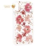 Чехол-накладка силиконовая K-Doo Flowers TPU + Dried Flowers + Lucite для iPhone X (5.8) Розовая