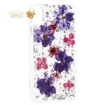 Чехол-накладка силиконовая K-Doo Flowers TPU + Dried Flowers + Lucite для iPhone X (5.8) Сиреневая