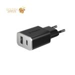 Адаптер питания Deppa Quick Charge 3.0 D-11393 18Вт (USB + USB Type-C) Черный