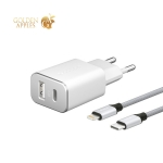 Адаптер питания Deppa PD 3.0 D-11390 18 Вт (USB + USB Type-C), дата-кабель нейлон Type-C-Lightning (MFI) Белый