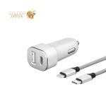 Разделитель автомобильный Deppa (MFI) USB + USB Type-C: (PD 3.0 D-11292 18 Вт) & Usb-кабель Type-C-Lightning нейлон Белый