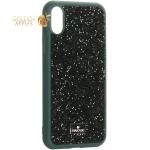 Чехол-накладка силиконовая со стразами SWAROVSKI Crystalline для iPhone X (5.8) Темно-зеленый №4