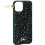 Чехол-накладка силиконовая со стразами SWAROVSKI Crystalline для iPhone 11 Pro (5.8) Темно-зеленый №4