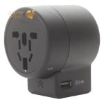 Адаптер питания универсальный Baseus для путешествий EU, US, UK, AUS (2USB Smart IC: 2.4A) 6A Черный