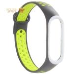 Сменный ремешок Xiaomi Mi Band 4/ 3 перфорированный Nike Style (гипоаллергенный силикон) Черно-салатовый