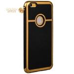 Противоударный чехол-накладка для iPhone 6S Plus / 6 Plus, цвет черный с золотистый окантовкой вид 1