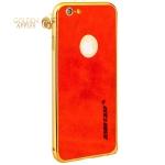 Алюминиевый бампер + кожаная накладка для iPhone 6S Plus / 6 Plus Jisoncase (JS-I6L-08P84+JS-I6L-14A30), цвет золотистый и Красный